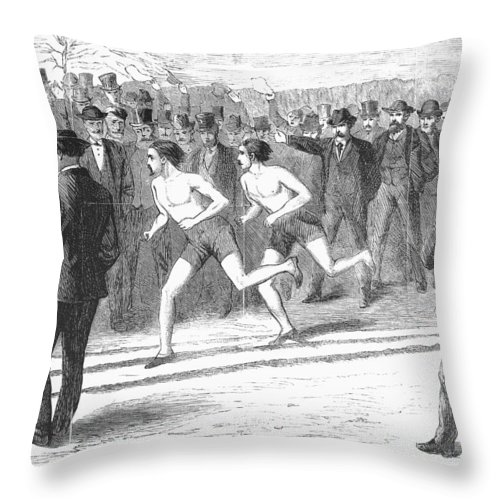 1868 Throw Pillow featuring the photograph Foot Race, 1868 by Granger