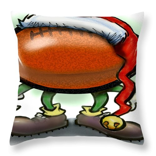 Football Throw Pillow featuring the greeting card Football Christmas by Kevin Middleton