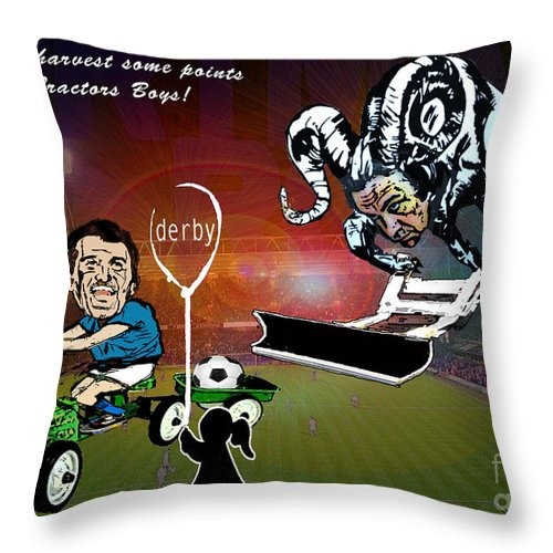 Throw Pillow featuring the painting Football Derby Rams Against Ipswich Tractor Boys by Miki De Goodaboom