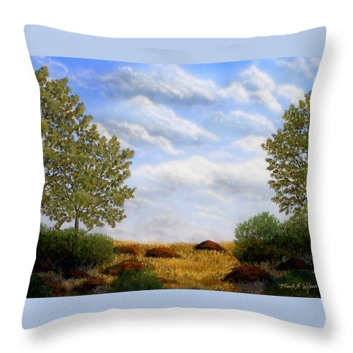 Landscape Throw Pillow featuring the painting Foothills Afternoon by Frank Wilson