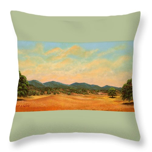 Landscape Throw Pillow featuring the painting Foothills by Frank Wilson