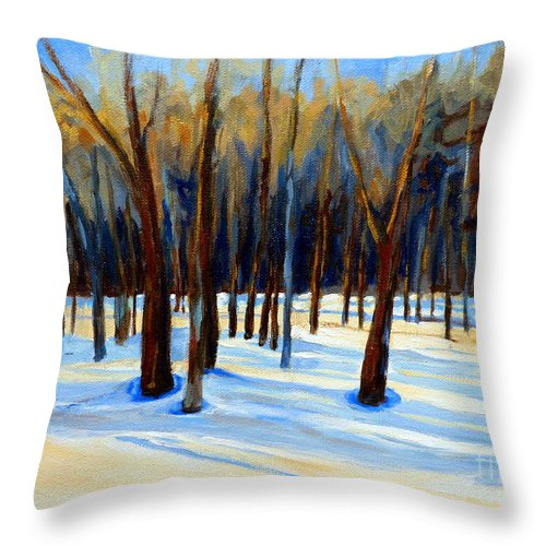 Beautiful Winter Throw Pillow featuring the painting Footprints by Carole Spandau