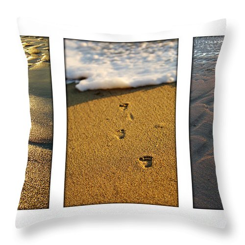Beach Throw Pillow featuring the photograph Footprints In The Sand by Jill Reger