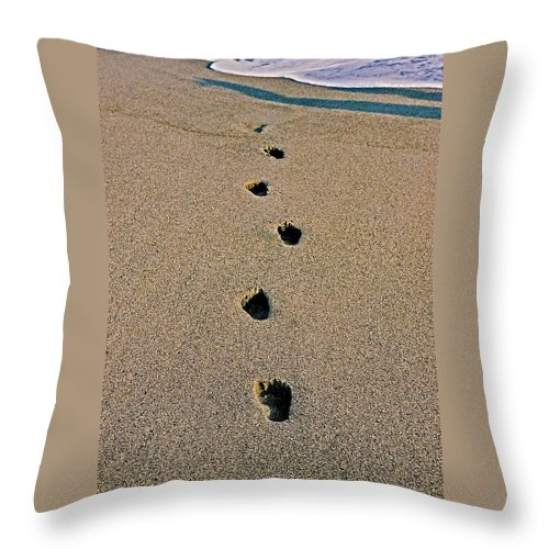 Pacific Throw Pillow featuring the photograph Footprints In The Sand ... by Juergen Weiss