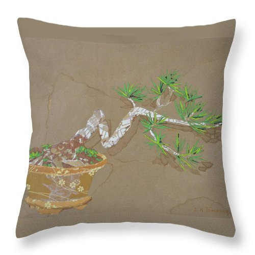 Banzai Tree Throw Pillow featuring the painting For Inge by Leah Tomaino