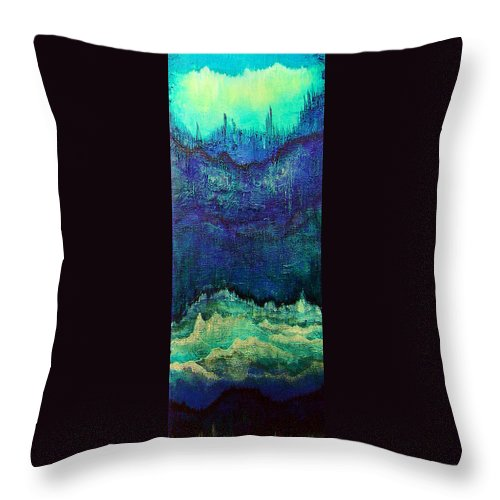 Blue Throw Pillow featuring the painting For Linda by Shadia Derbyshire