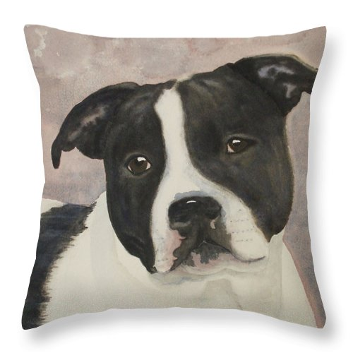 Dog Throw Pillow featuring the painting For Me by Ally Benbrook
