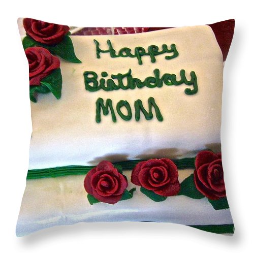 Birthday Cake Throw Pillow featuring the photograph For Mom by Elisabeth Derichs
