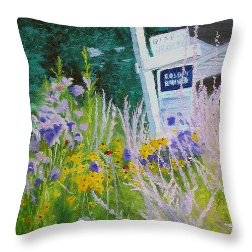 Landscape Throw Pillow featuring the painting For Sale - A Patch Of Paradise by Lea Novak