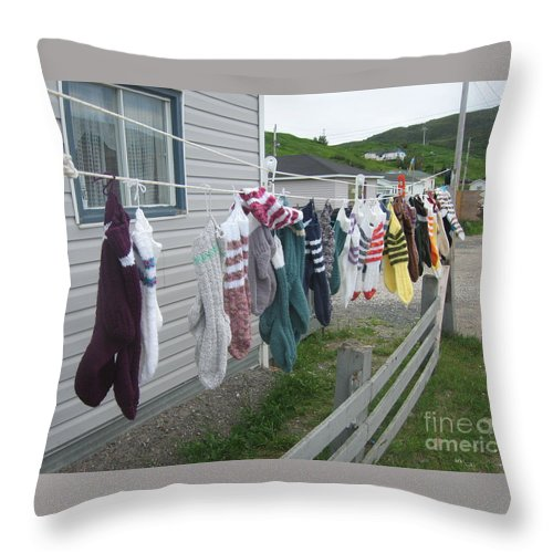 Knitted Socks Newfoundland Throw Pillow featuring the photograph For Sale by Seon-Jeong Kim