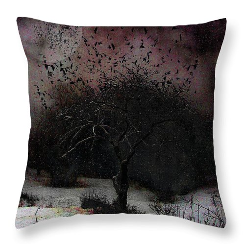 Story Throw Pillow featuring the digital art for Sledding and Starlings by Mimulux patricia No