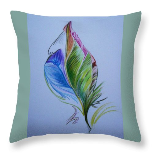 Abstract Throw Pillow featuring the drawing For Starters by Suzanne Udell Levinger