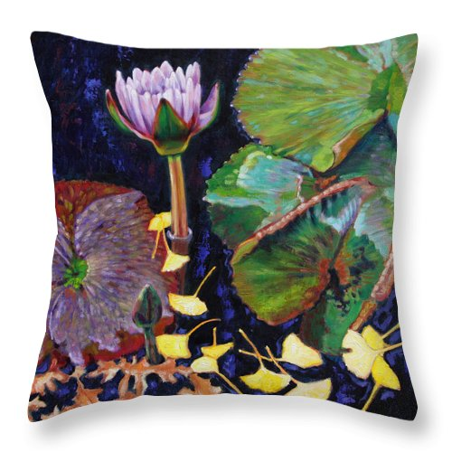 Water Lily Throw Pillow featuring the painting For The Love Of Color by John Lautermilch