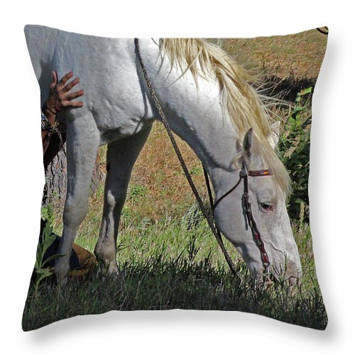 Native American Throw Pillow featuring the photograph For The Love Of His Horse by Samantha Burrow