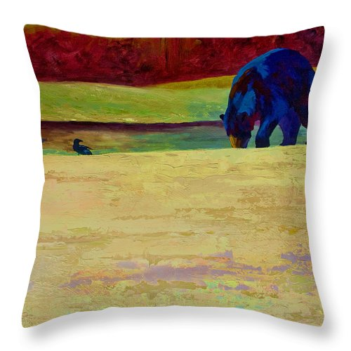 Bear Throw Pillow featuring the painting Foraging At Neets Bay - Black Bear by Marion Rose