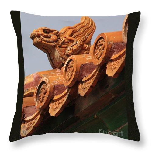Forbidden City Throw Pillow featuring the photograph Forbidden City Guardian by Carol Groenen