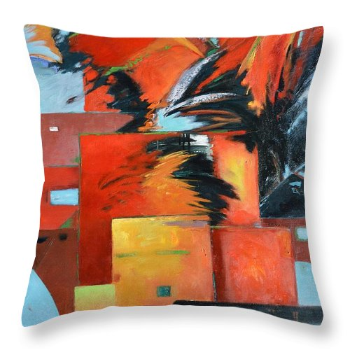Architectural Throw Pillow featuring the painting Force Heat Stability by Gary Coleman