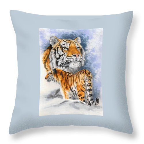 Big Cats Throw Pillow featuring the mixed media Forceful by Barbara Keith