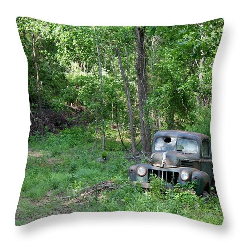 1942 Throw Pillow featuring the photograph Ford - Found On Road Dead by Betty Northcutt
