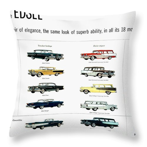 1957 Throw Pillow featuring the photograph Ford Auto/edsel Ad, 1957 by Granger