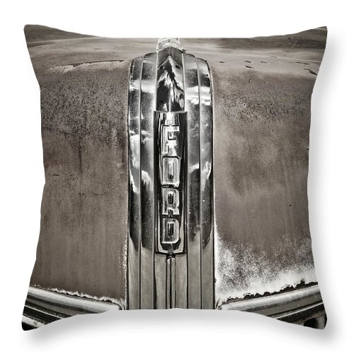 Americana Throw Pillow featuring the photograph Ford Chrome Grille by Marilyn Hunt