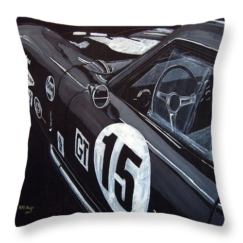 Ford Cobra Racing Coupe Throw Pillow featuring the painting Ford Cobra Racing Coupe by Richard Le Page