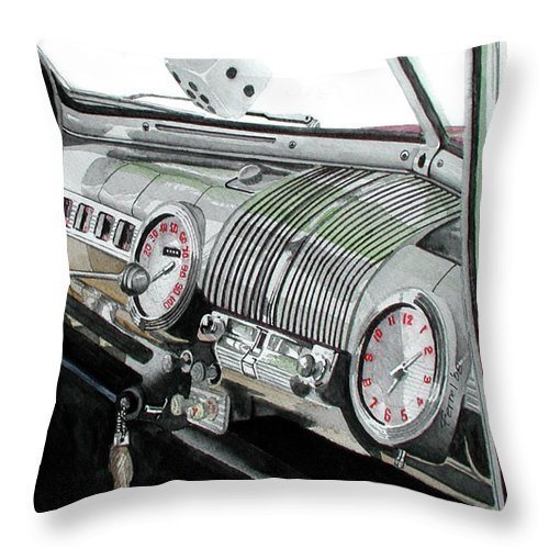 Car Throw Pillow featuring the painting Ford Dash by Ferrel Cordle