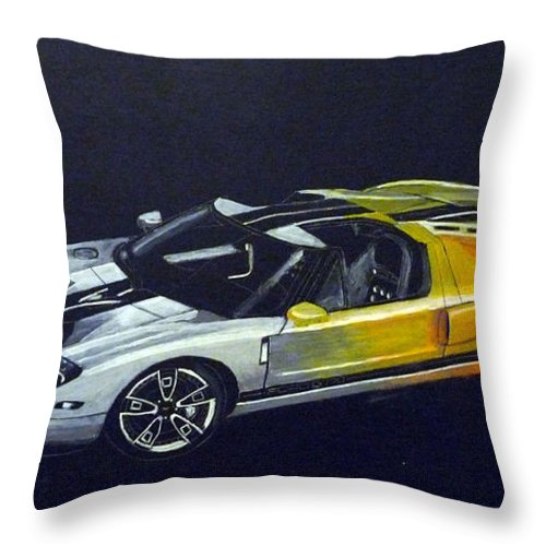 Ford Throw Pillow featuring the painting Ford Gt Concept by Richard Le Page