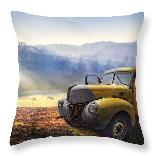 Appalachia Throw Pillow featuring the photograph Ford in the Fog by Debra and Dave Vanderlaan