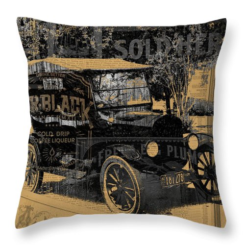 Ford Throw Pillow featuring the mixed media Ford Model T Made Using Found Objects by Design Turnpike