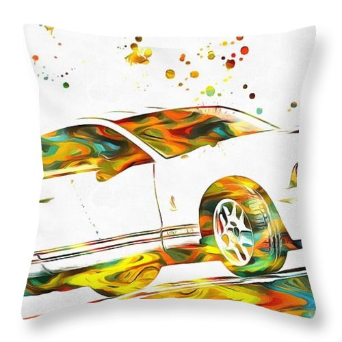 Ford Mustang Paint Splatter Throw Pillow featuring the painting Ford Mustang Paint Splatter by Dan Sproul
