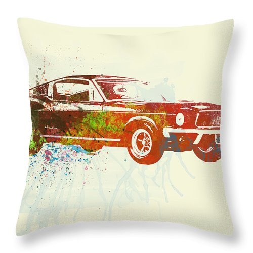 Ford Mustang Throw Pillow featuring the painting Ford Mustang Watercolor by Naxart Studio