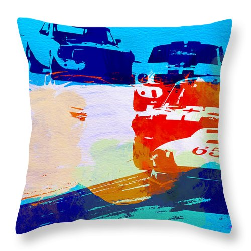 Ford Mustang Throw Pillow featuring the photograph Ford Mustang Watercolor by Naxart Studio