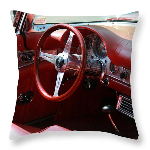 Ford Throw Pillow featuring the photograph Ford Thunderbird 57 Interior by David Dunham