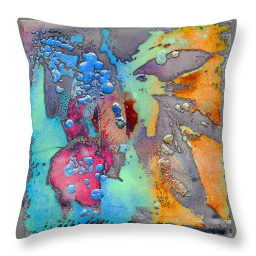 Copper Throw Pillow featuring the painting Forest Beneath Us by Jude Lobe