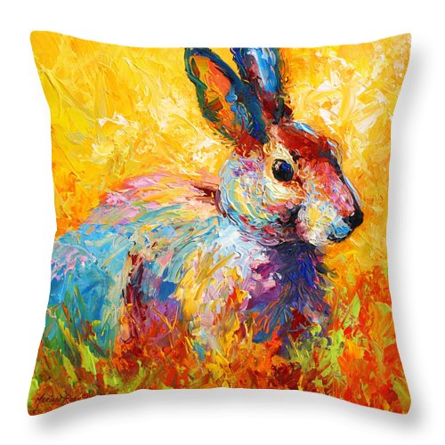 Rabbit Throw Pillow featuring the painting Forest Bunny by Marion Rose