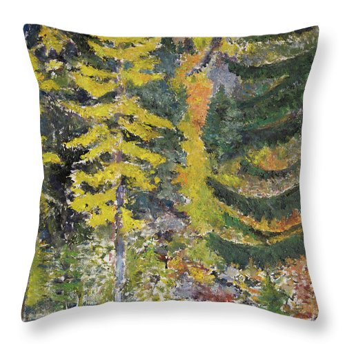 Forest Throw Pillow featuring the painting Forest by Craig Newland