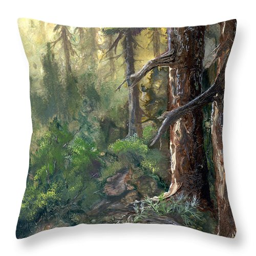 Trees Throw Pillow featuring the painting Forest Deep by Sherry Shipley