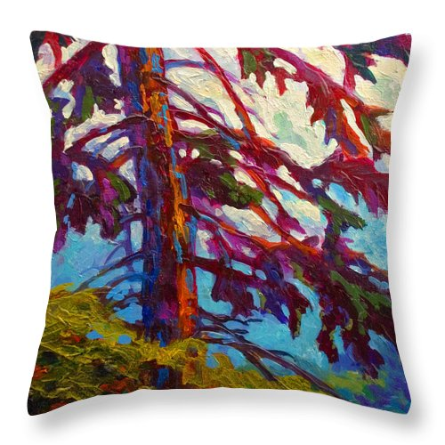 Trees Throw Pillow featuring the painting Forest Elder by Marion Rose