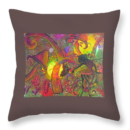 Forest Fairies 1 Throw Pillow featuring the painting Forest Fairies - 1 by Jacqueline Athmann