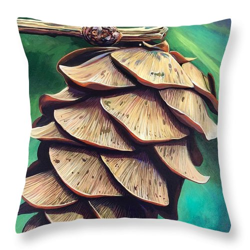 Pinecone Throw Pillow featuring the painting Forest Fantasy by Hunter Jay