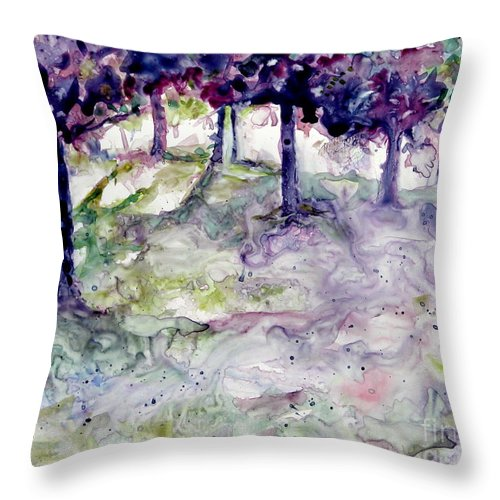 Fastasy Throw Pillow featuring the painting Forest Fantasy by Jan Bennicoff