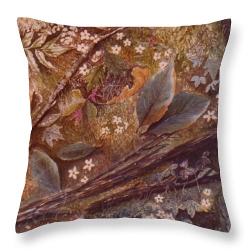 Leaves; Forest; Flowers Throw Pillow featuring the painting Forest Floor by Ben Kiger