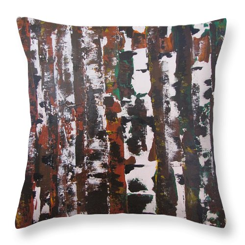 Abstract Throw Pillow featuring the painting Forest For The Trees by Gary Smith