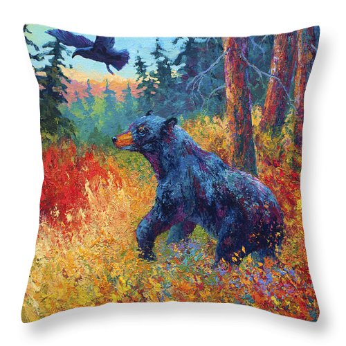 Black Throw Pillow featuring the painting Forest Friends by Marion Rose