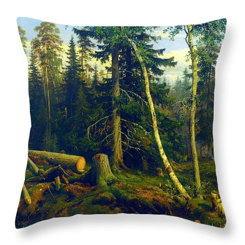 Painting Throw Pillow featuring the painting Forest by Mountain Dreams