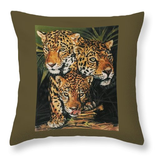Jaguar Throw Pillow featuring the pastel Forest Jewels by Barbara Keith