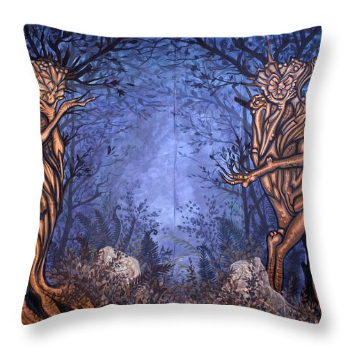 Mystic Throw Pillow featuring the painting Forest by Judy Henninger