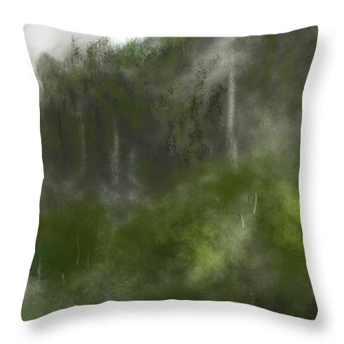 Digital Art Throw Pillow featuring the digital art Forest Landscape 10-31-09 by David Lane
