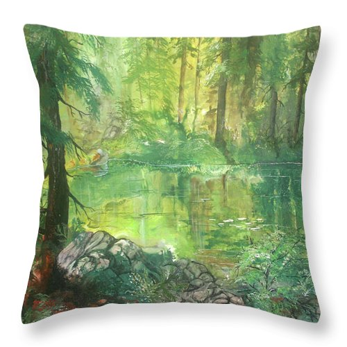 Trees Throw Pillow featuring the painting Forest Pond by Sherry Shipley